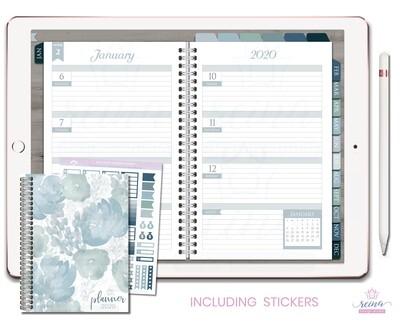 2020 Deluxe Digital Planner   Horizontal, Silver, Blue Slate