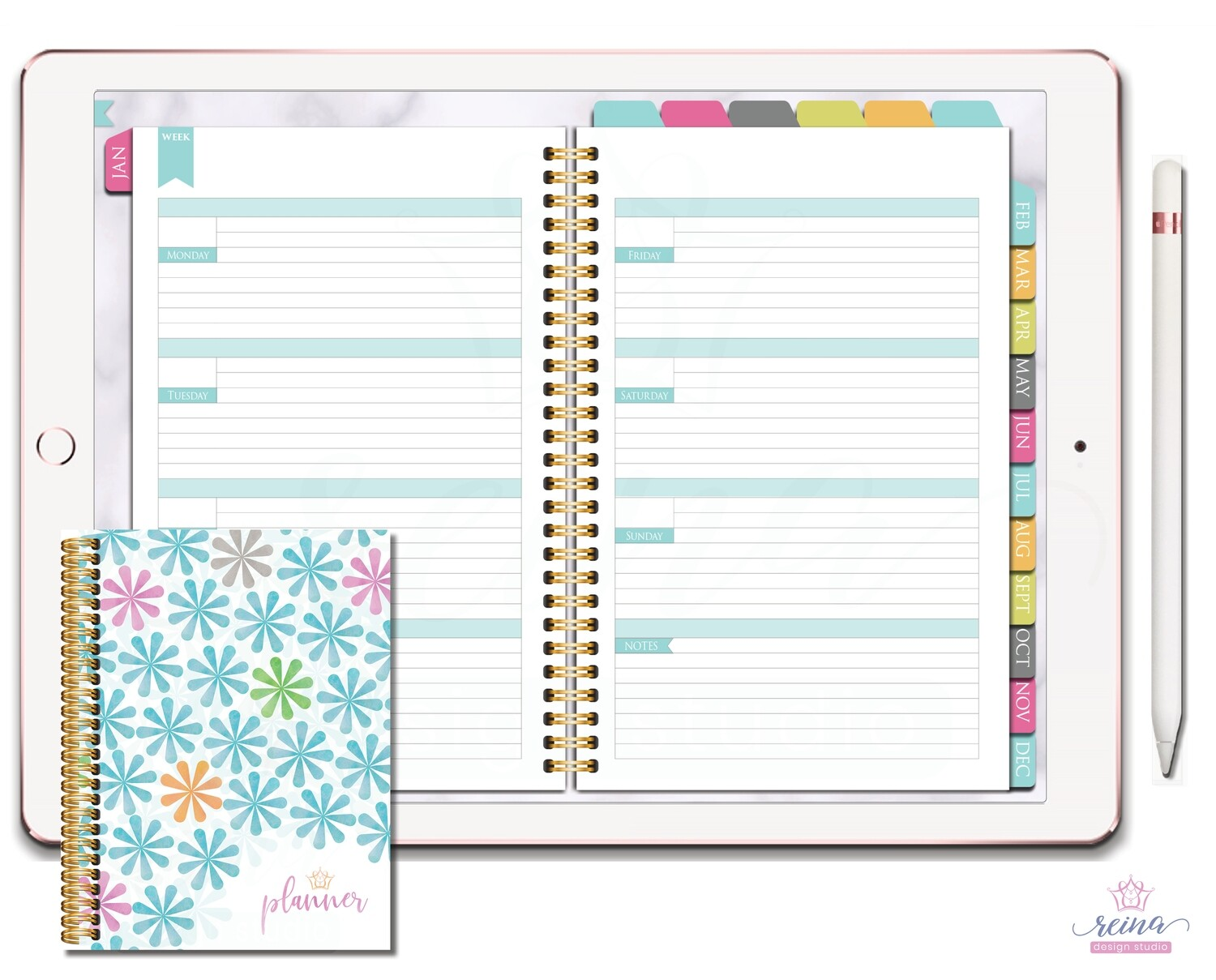 Undated Deluxe Digital Planner | Horizontal, Gold, Kaleidoscope