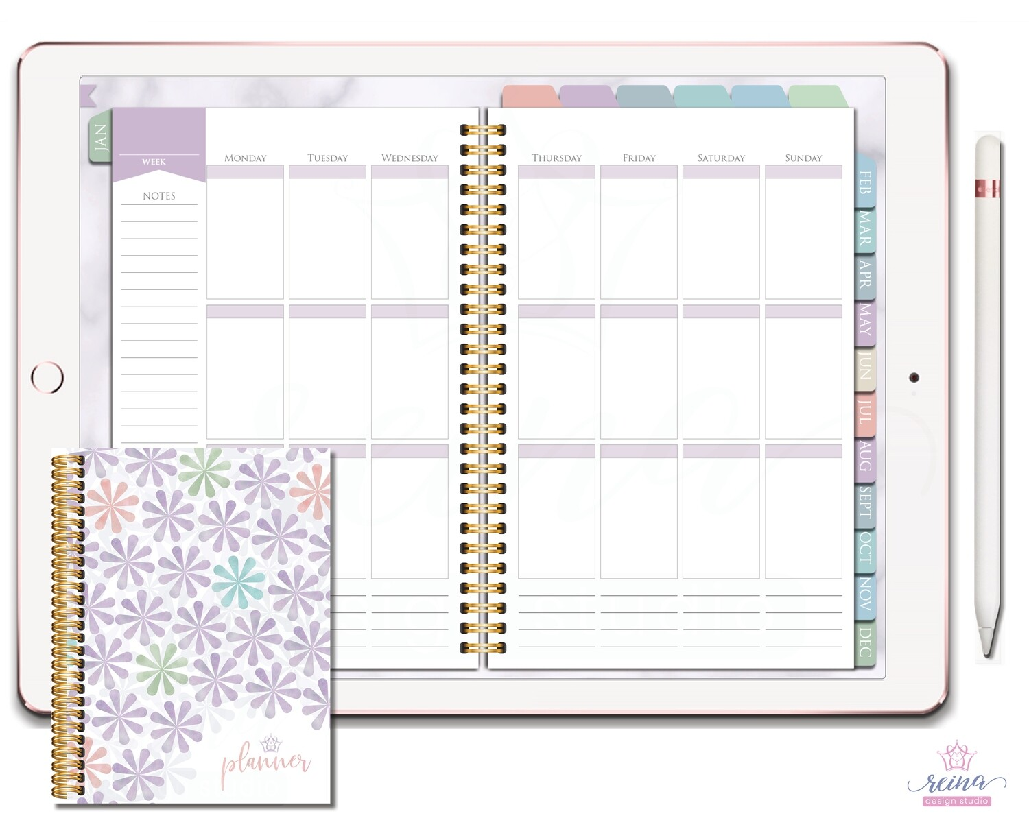 Undated Deluxe Digital Planner | Vertical, Gold, Sea Breeze