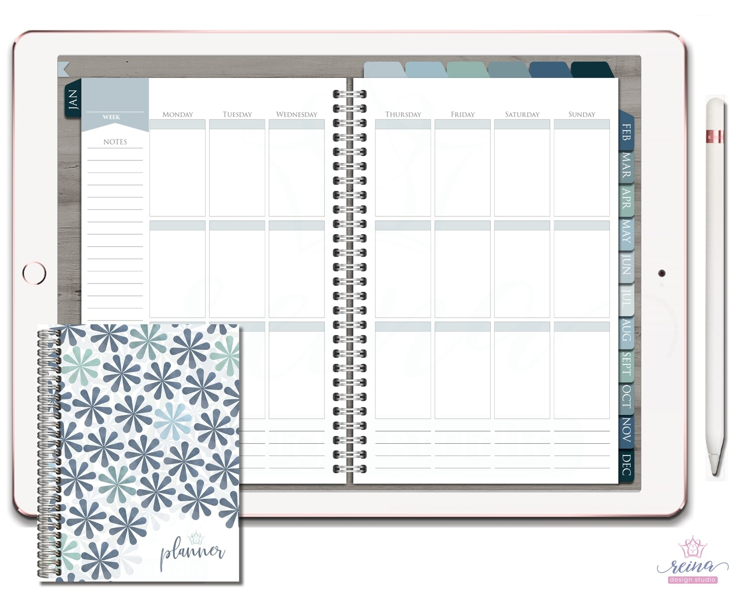 Undated Deluxe Digital Planner | Vertical, Silver, Blue Slate