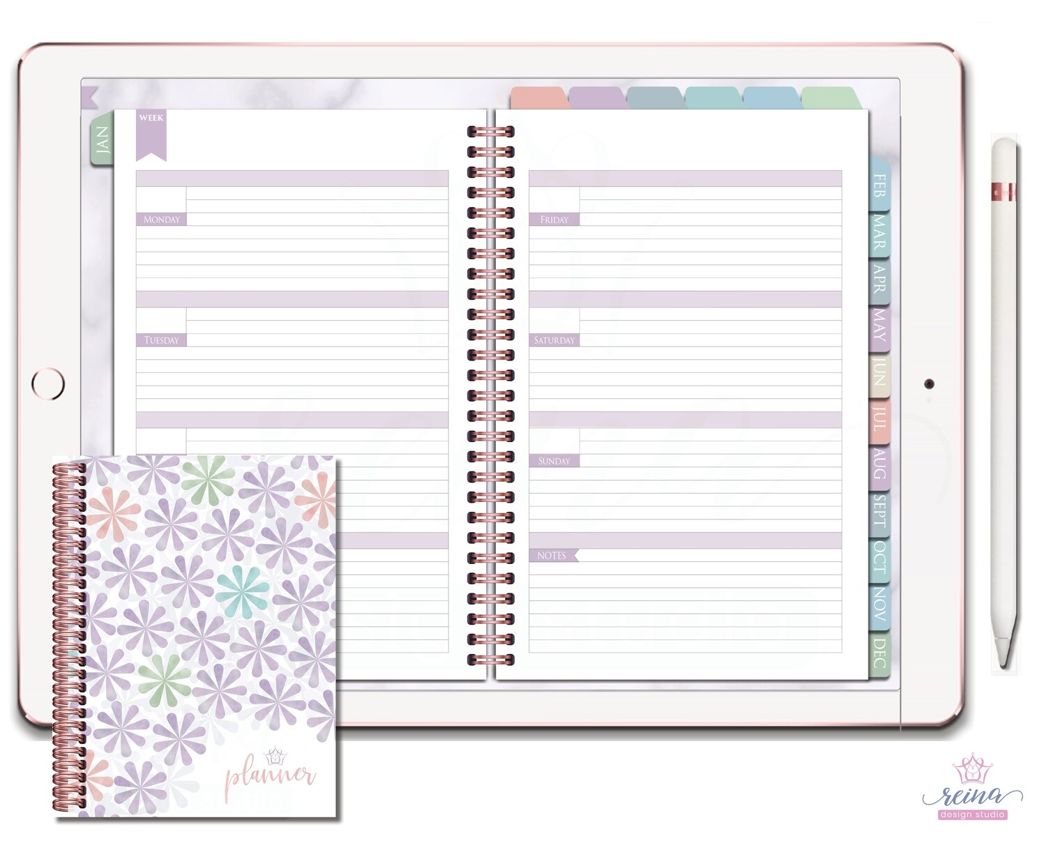 Undated Deluxe Digital Planner | Horizontal, Rose Gold, Sea Breeze
