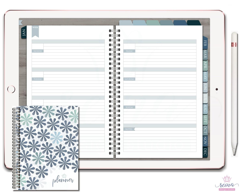 Undated Deluxe Digital Planner | Horizontal, Silver, Blue Slate