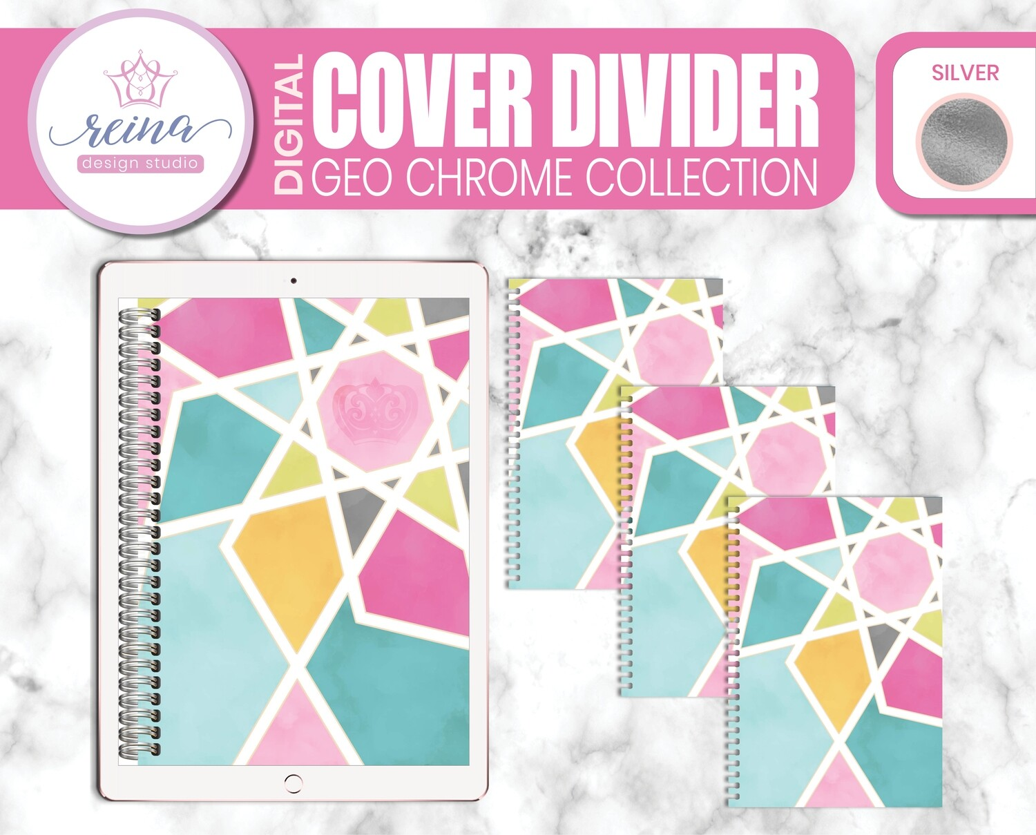 Interchangeable Digital Planner Cover and Dividers | Geo Chrome, Silver