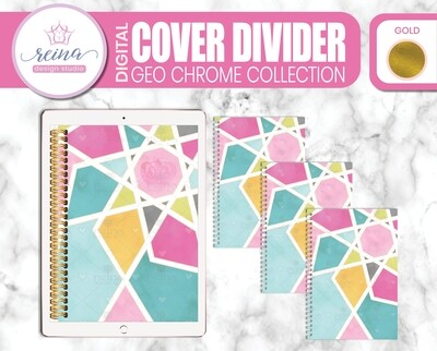 Interchangeable Digital Planner Cover and Dividers | Geo Chrome, Gold
