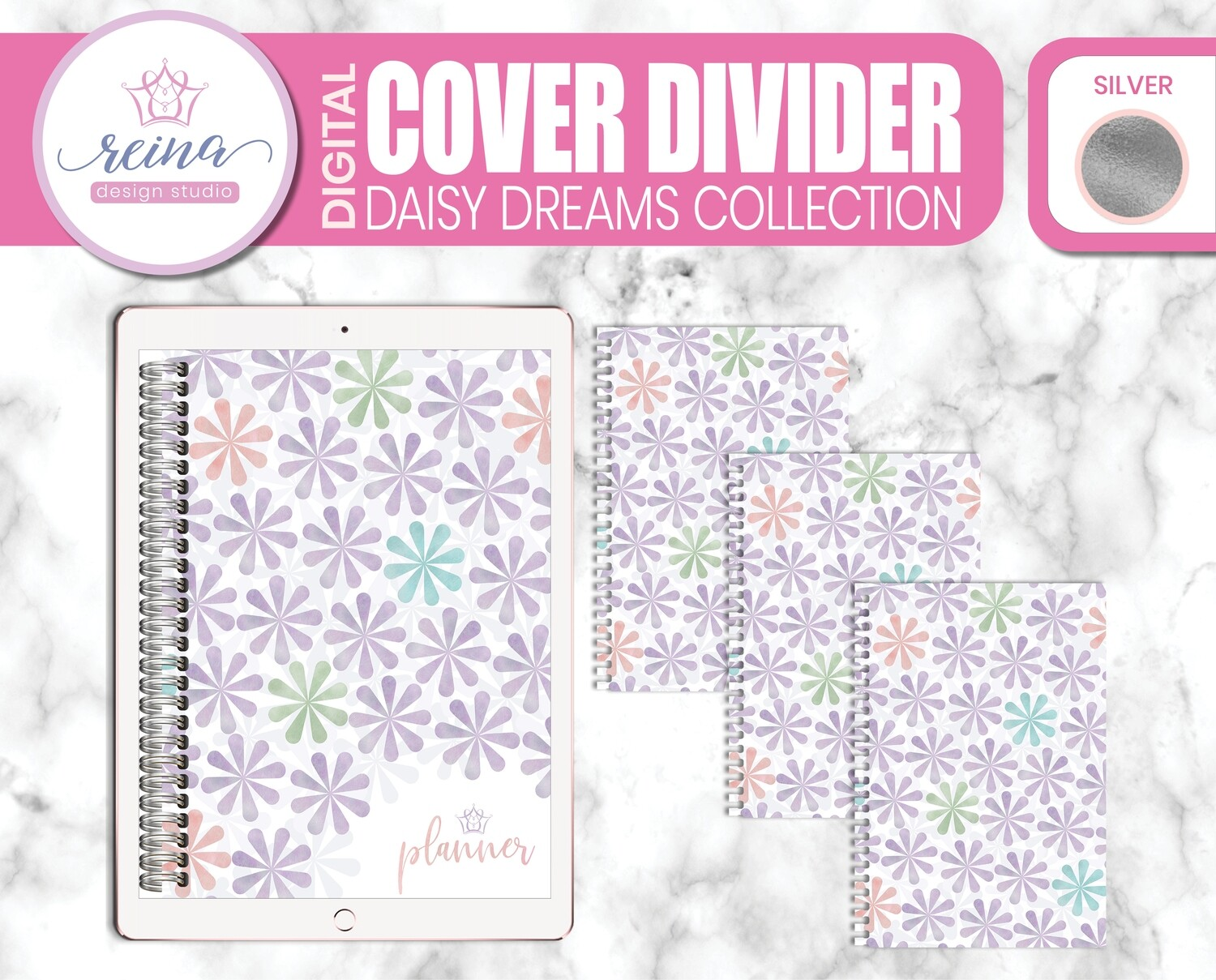 Interchangeable Digital Planner Cover and Dividers   Daisy Dreams, Silver