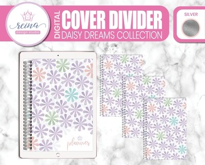 Interchangeable Digital Planner Cover and Dividers | Daisy Dreams, Silver