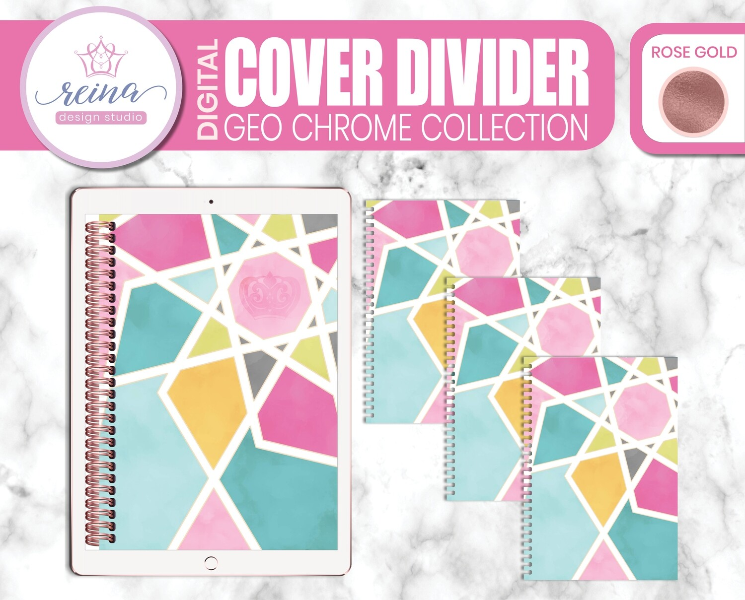 Interchangeable Digital Planner Cover and Dividers | Geo Chrome, Rose Gold