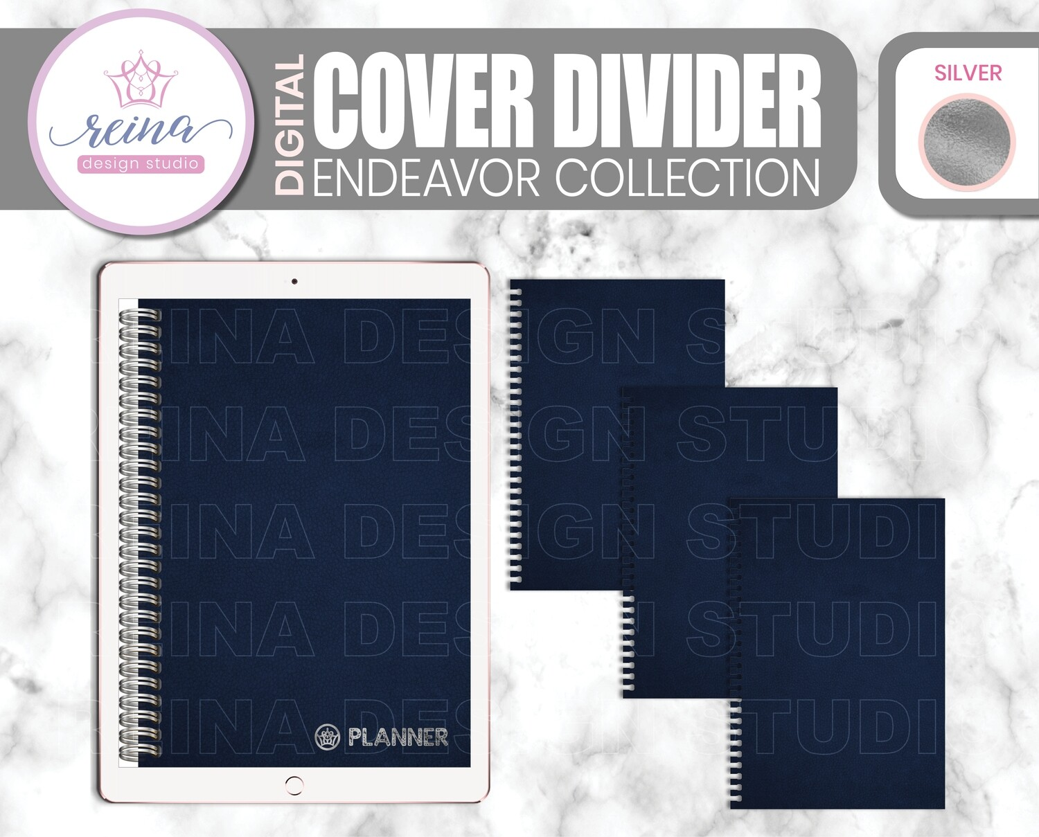 Interchangeable Digital Planner Cover and Divider | Endeavor, Navy