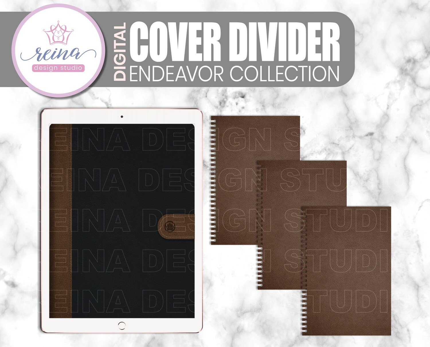 Interchangeable Digital Planner Cover and Divider | Endeavor, Brown Black