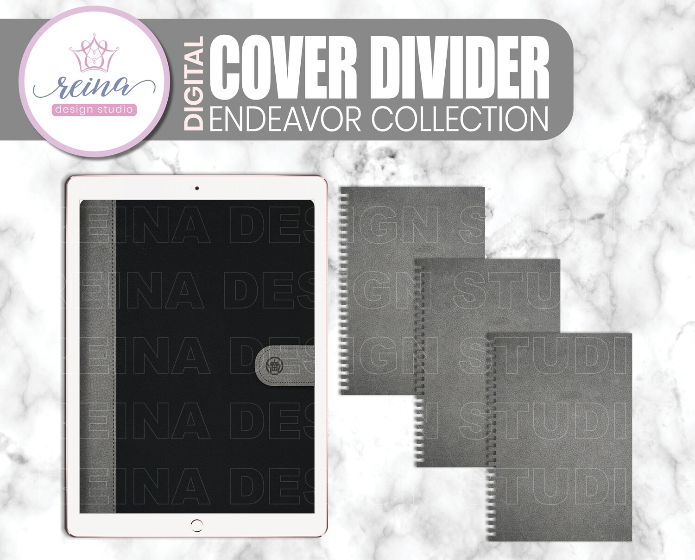 Interchangeable Digital Planner Cover and Divider   Endeavor, Gray Black