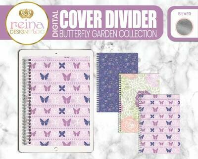 Interchangeable Digital Planner Cover and Dividers | Butterfly Garden, Silver