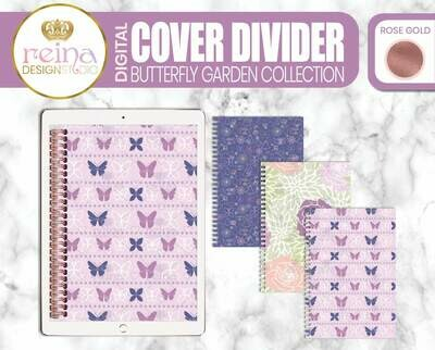 Interchangeable Digital Planner Cover and Dividers | Butterfly Garden, Rose Gold