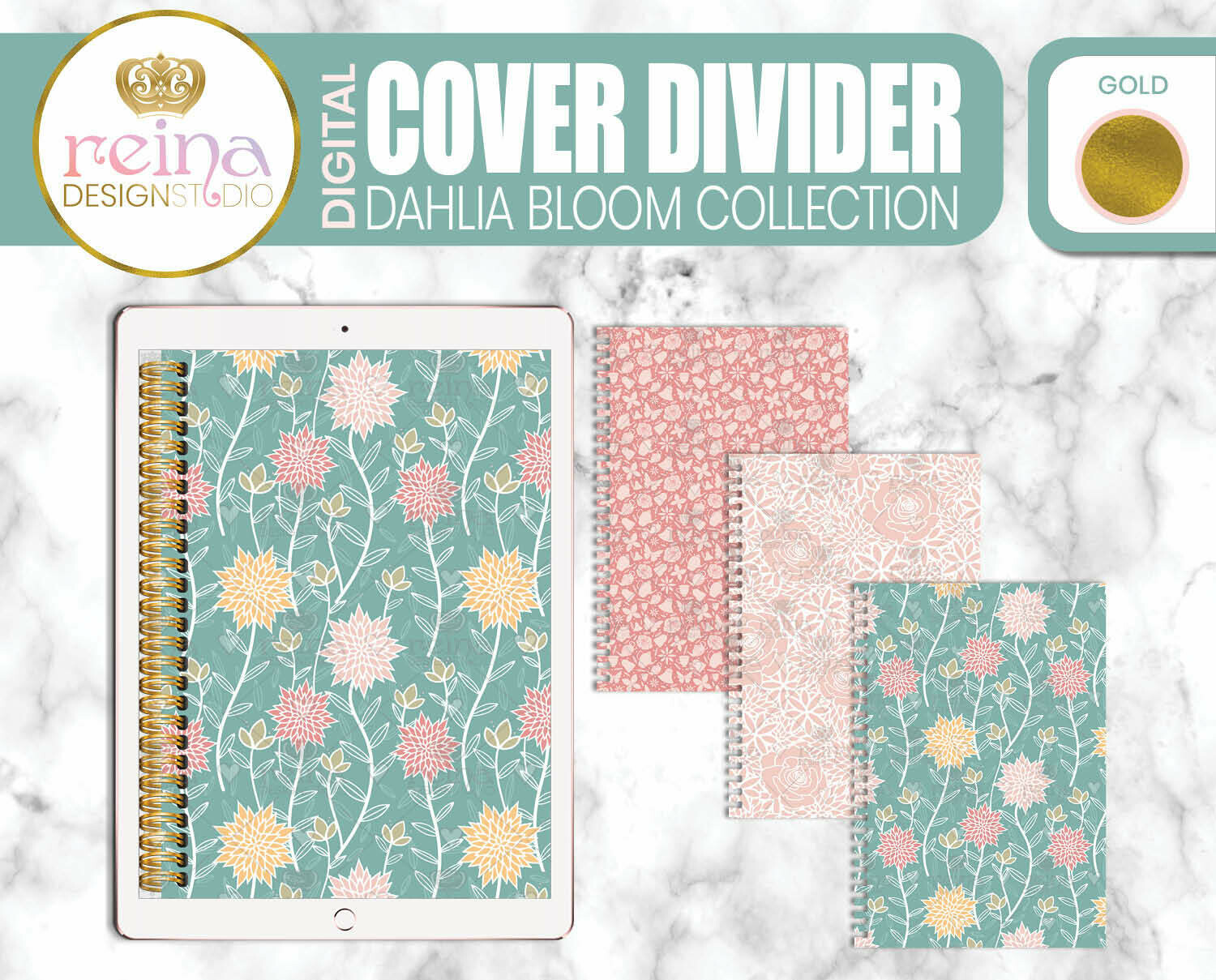 Interchangeable Digital Planner Cover and Dividers   Dahlia Bloom, Gold