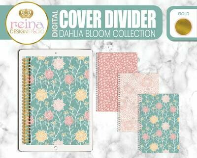 Interchangeable Digital Planner Cover and Dividers | Dahlia Bloom, Gold