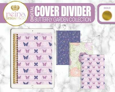 Interchangeable Digital Planner Cover and Dividers | Butterfly Garden, Gold
