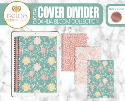 Interchangeable Digital Planner Cover and Dividers | Dahlia Bloom, Rose Gold