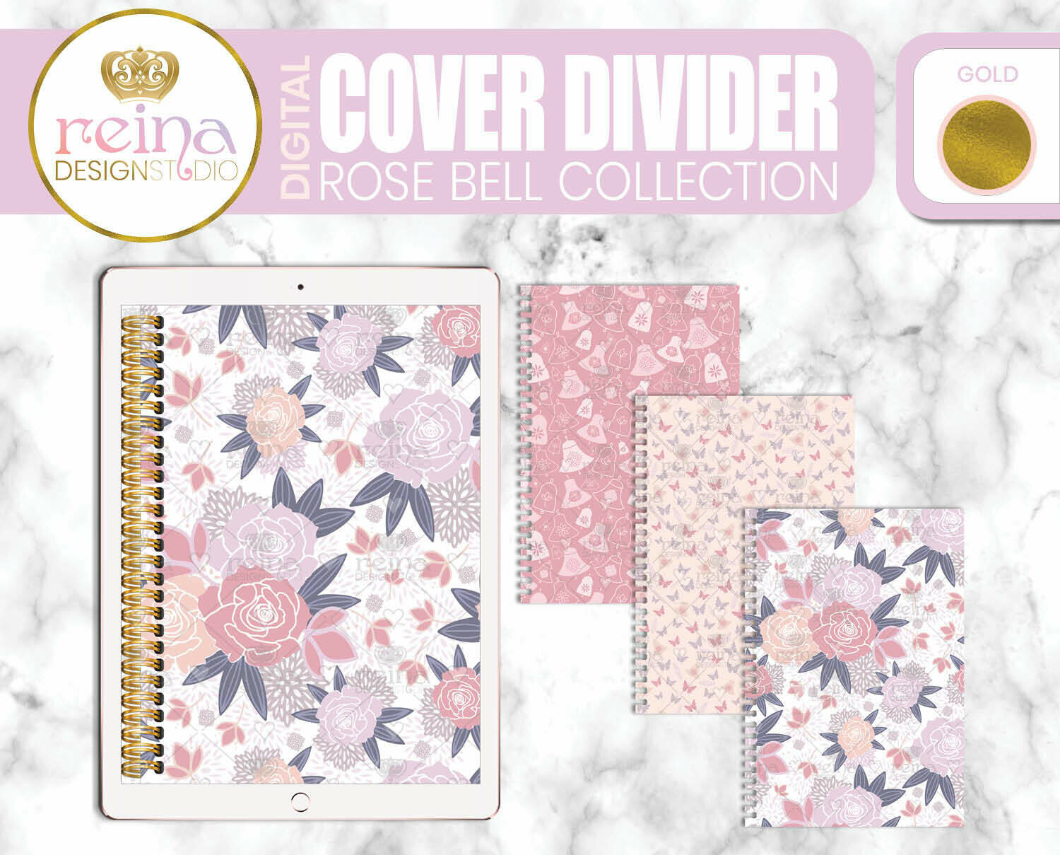 Interchangeable Digital Planner Cover and Dividers | Rose Bell, Gold