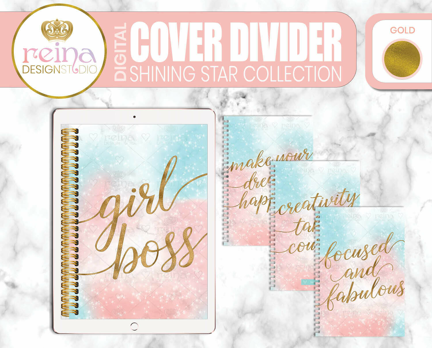Interchangeable Digital Planner Cover and Dividers   Shining Star, Gold