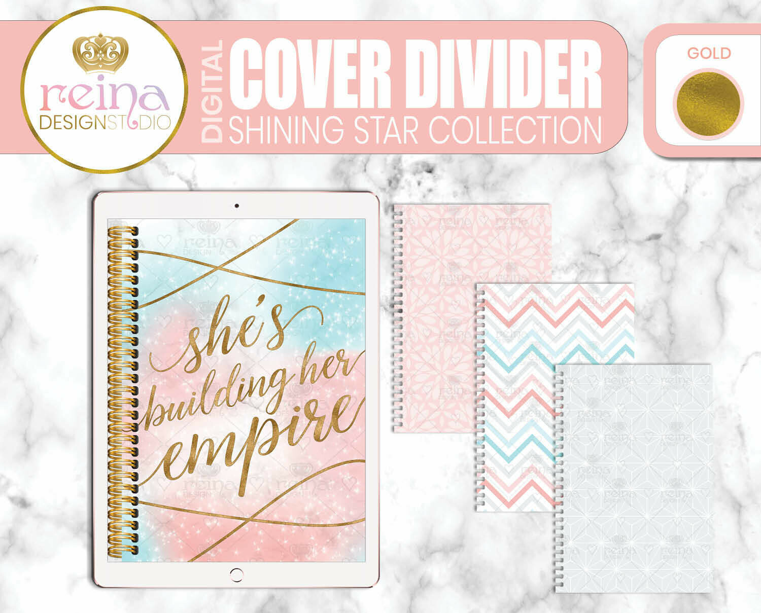 Interchangeable Digital Planner Cover and Dividers | Shining Star, Gold
