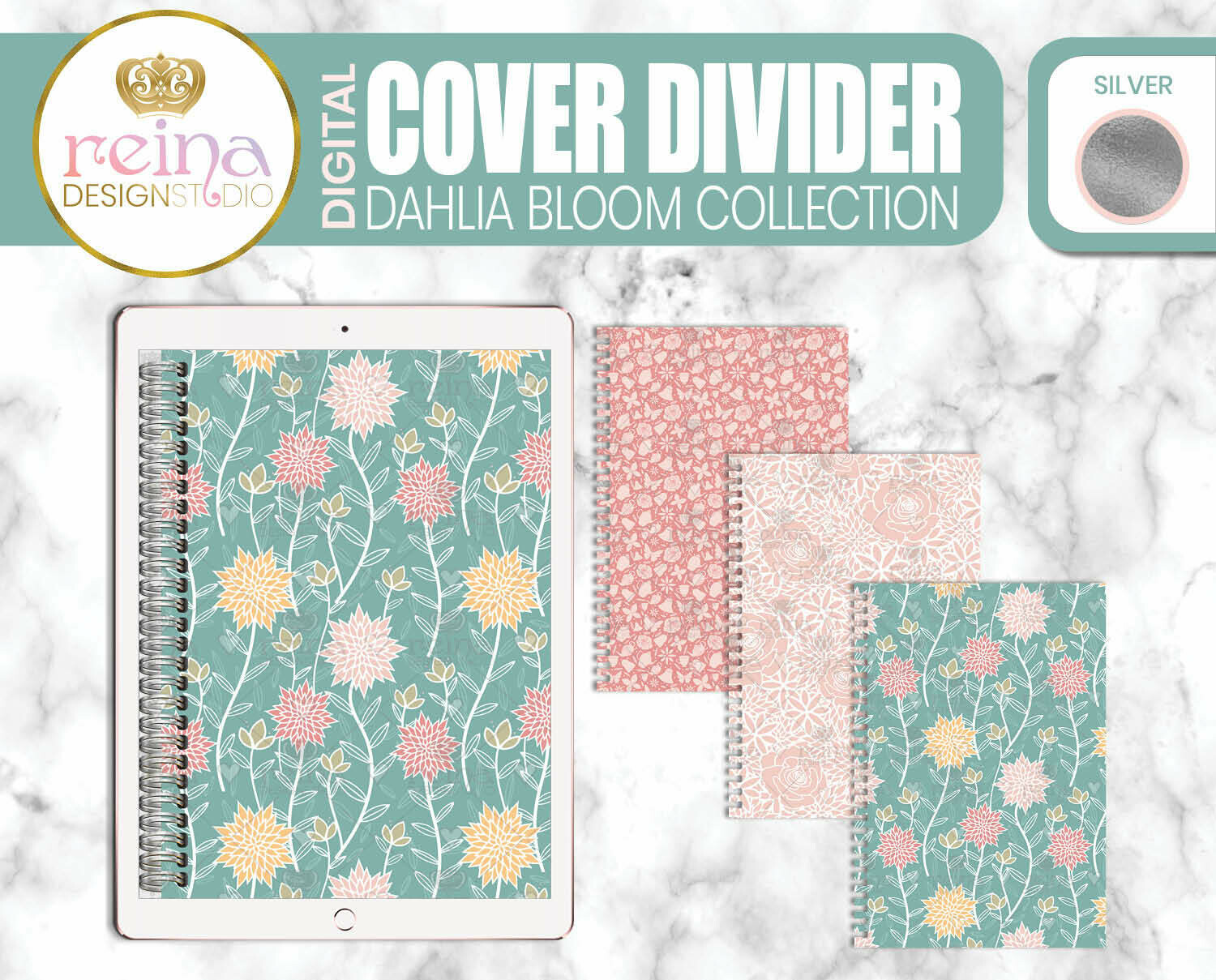 Interchangeable Digital Planner Cover and Dividers | Dahlia Bloom, Silver