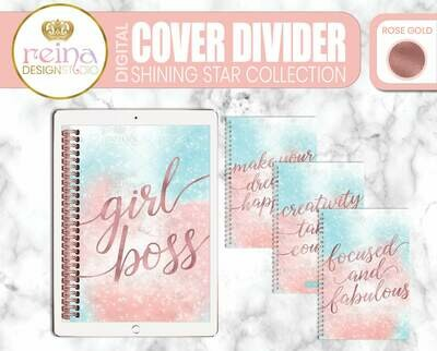 Interchangeable Digital Planner Cover and Dividers | Shining Star, Rose Gold