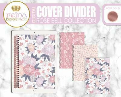 Interchangeable Digital Planner Cover and Dividers | Rose Bell, Rose Gold