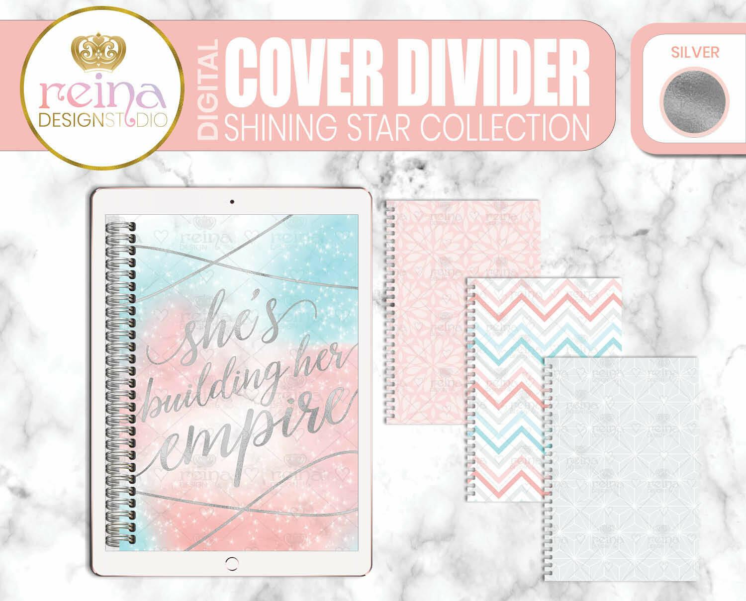 Interchangeable Digital Planner Cover and Dividers | Shining Star, Silver