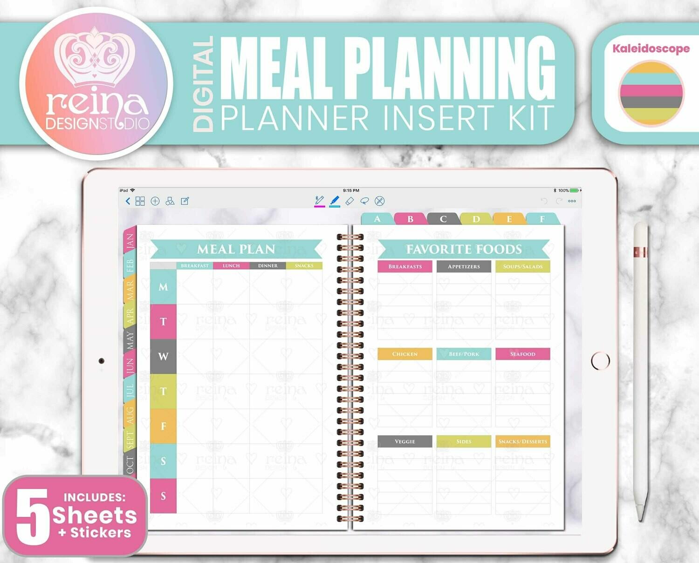Meal Planning Digital Planner Insert Kit | Kaleidoscope