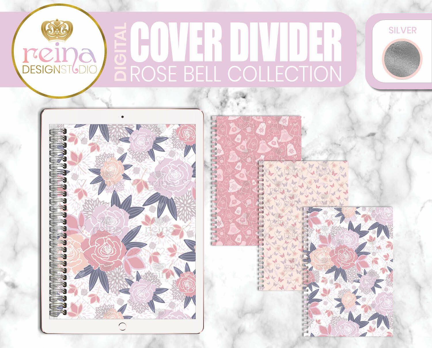 Interchangeable Digital Planner Cover and Dividers | Rose Bell, Silver