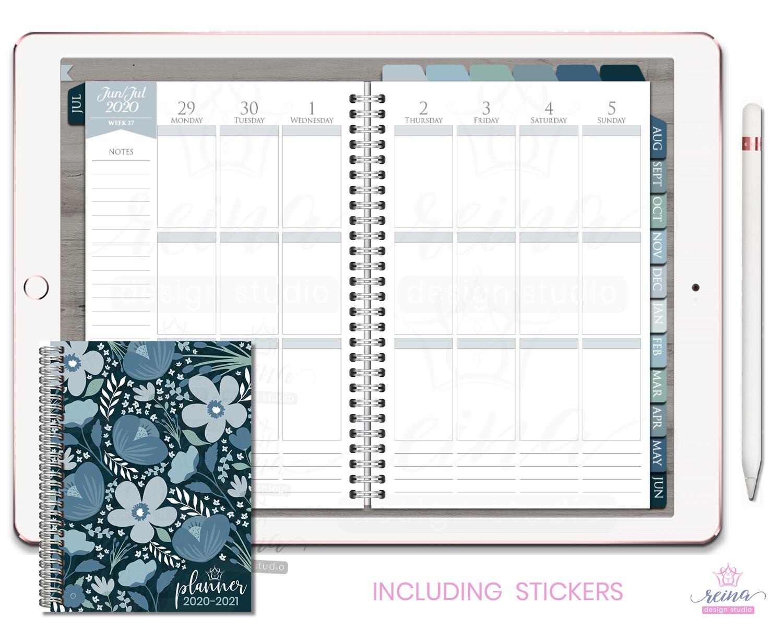 2020-2021 Deluxe Digital Planner | Vertical, Silver, Blue Slate