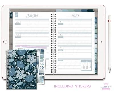 2020-2021 Deluxe Digital Planner | Horizontal, Silver, Blue Slate