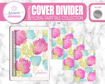 Interchangeable Digital Planner Cover and Dividers | Floral Fairytale, Silver