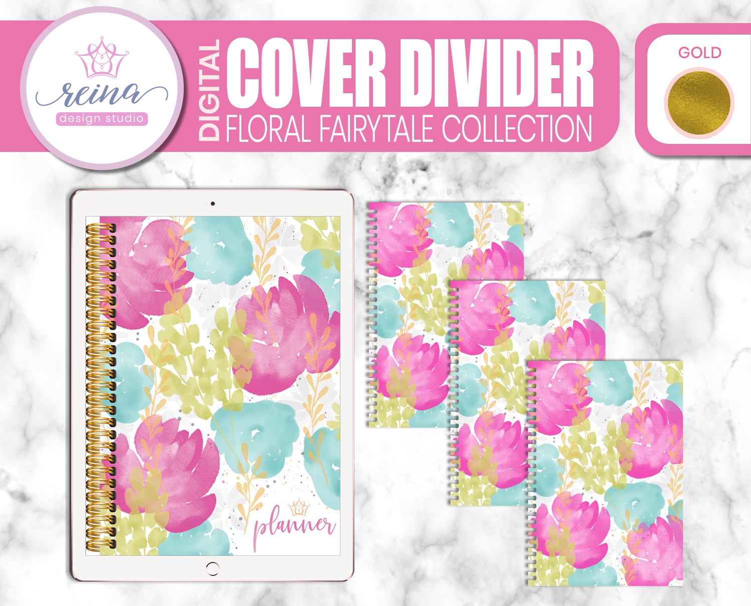 Interchangeable Digital Planner Cover and Dividers | Floral Fairytale, Gold