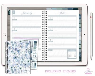 2021 Deluxe Digital Planner | Horizontal, Silver, Blue Slate