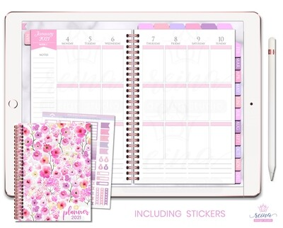 2021 Deluxe Digital Planner | Vertical, Rose Gold, Rose Quartz
