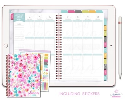 2021 Deluxe Digital Planner | Vertical, Rose Gold, Kaleidoscope