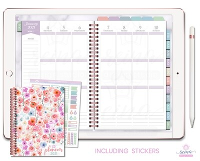 2021 Deluxe Digital Planner | Vertical, Rose Gold, Sea Breeze