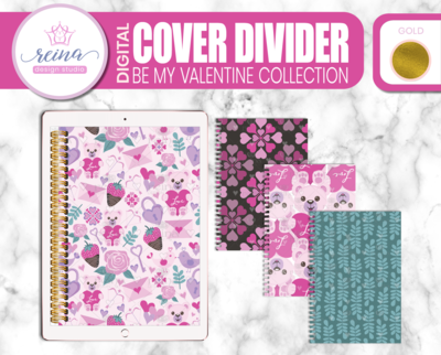 Interchangeable Digital Planner Cover and Dividers Deluxe | Be My Valentine Set A, Gold