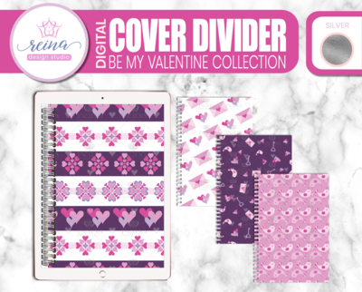 Interchangeable Digital Planner Cover and Dividers Deluxe | Be My Valentine Set B, Silver