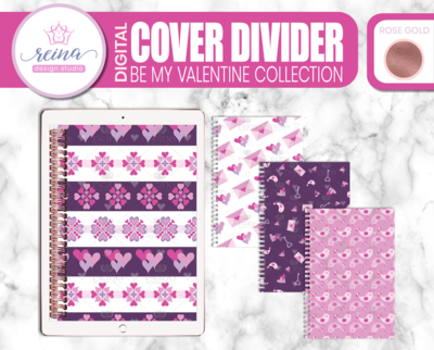 Interchangeable Digital Planner Cover and Dividers Deluxe | Be My Valentine Set B, Rose Gold