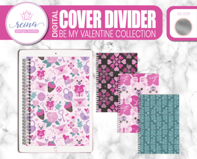 Interchangeable Digital Planner Cover and Dividers Deluxe | Be My Valentine Set A, Silver