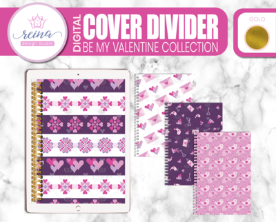 Interchangeable Digital Planner Cover and Dividers Deluxe | Be My Valentine Set B, Gold