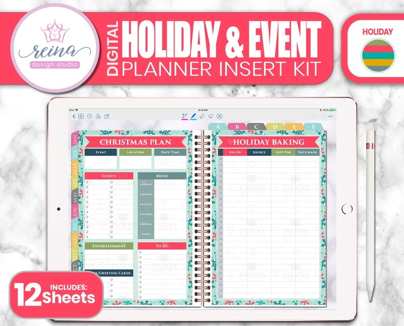 Holiday & Event Digital Planner Insert Kit | Holiday Colors