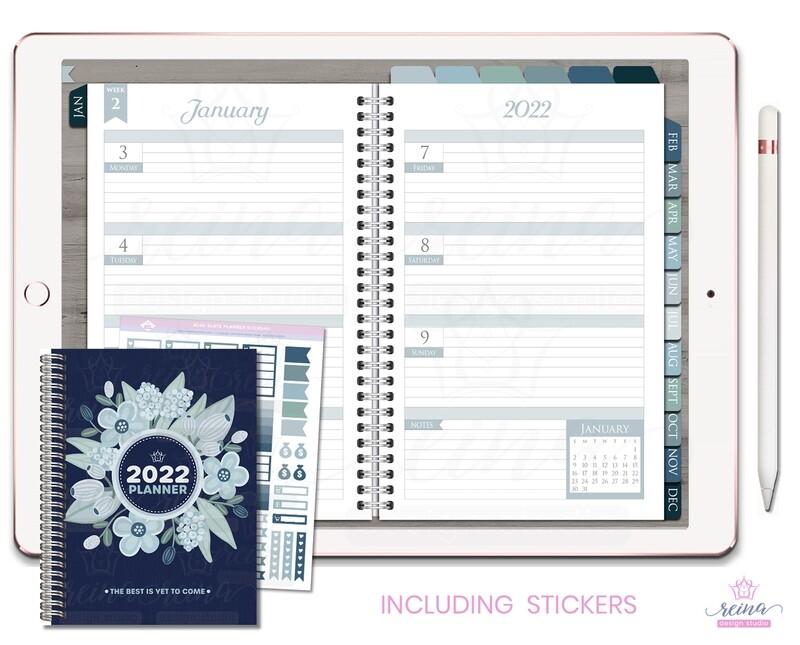 2022 Deluxe Digital Planner | Horizontal, Silver, Blue Slate
