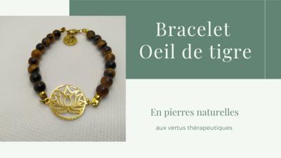 Bracelet Lily - Œil de Tigre et Fleur de Lotus