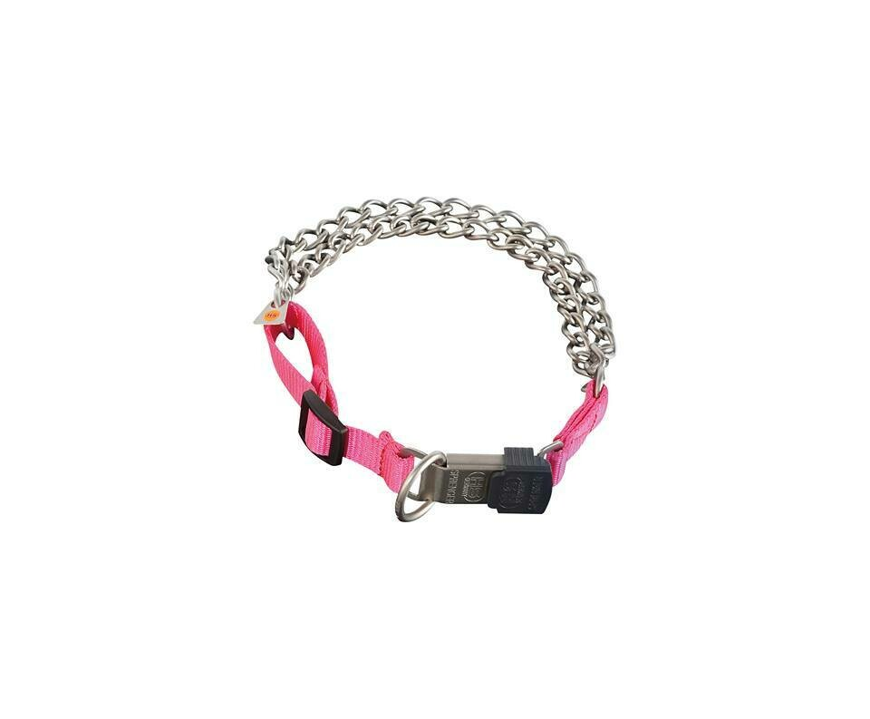 Sprenger Twin Row Chain Collar with Pink Nylon - Discontinued