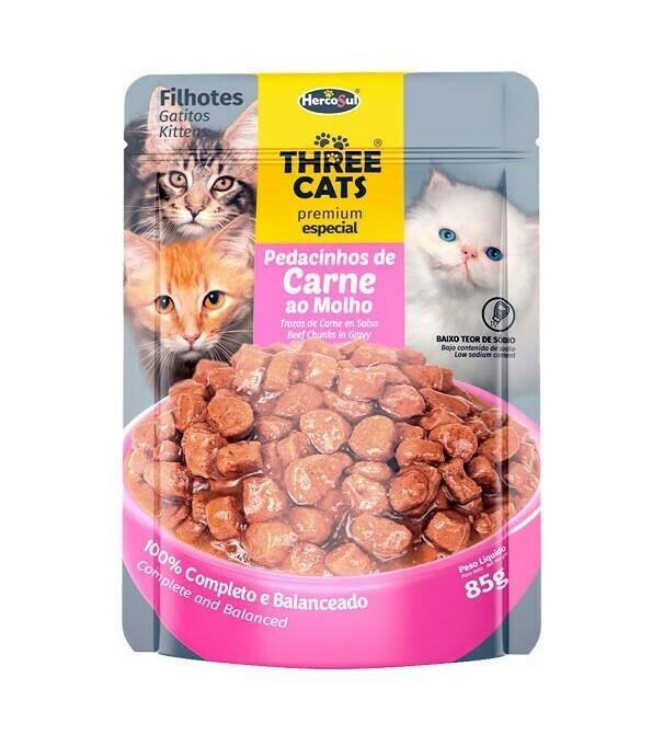 Sache Three Cats Orig. Cachorro Carne 85 Gr.