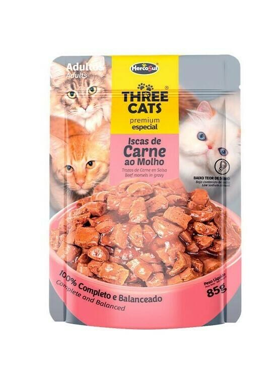 Sache Three Cats Orig. Adulto Carnes 85 Gr.
