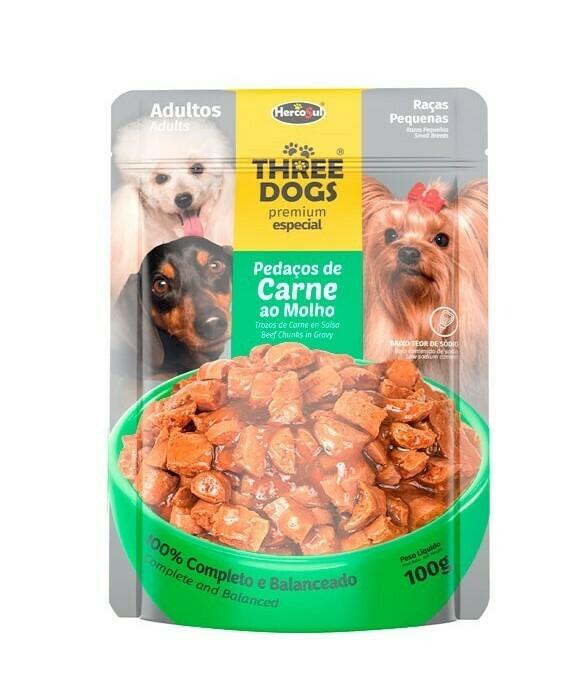 Sachet Three Dogs Orig. Adultos Raza Pequeña 100 Gr.
