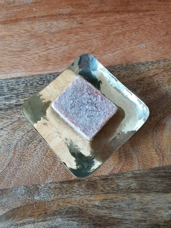 Porte savon en laiton argenté carré
